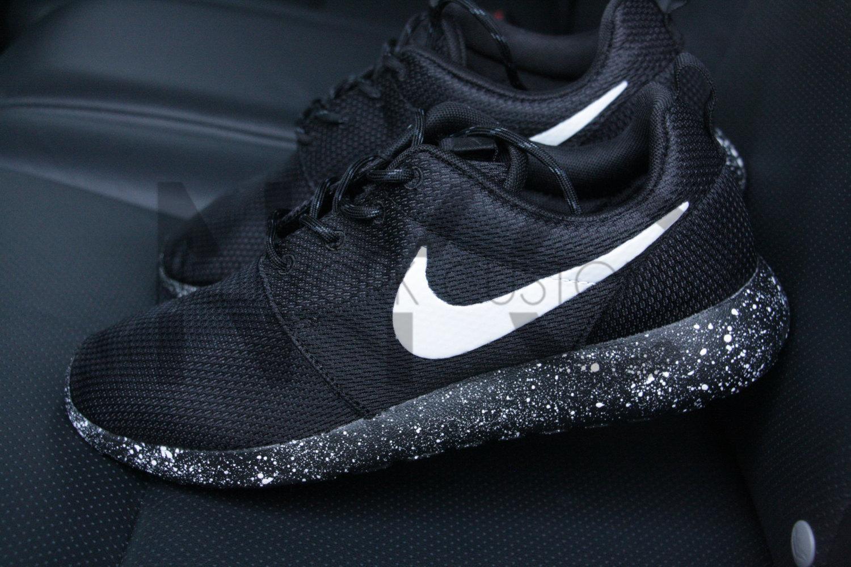 1ef1d3e91a12 Oreo Nike Roshe One Run Black White Splatter Speckle Custom