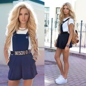 skirt,shorts,overalls,romper,shirt,belt,pants,dark blue,navy,blue dungarees,dungarees,shoes,bag,dress,cardigan,shorts with suspenders
