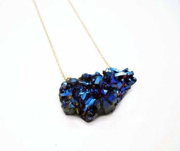 jewels stone necklace blue stone magical necklace classy chic tumblr cute necklace