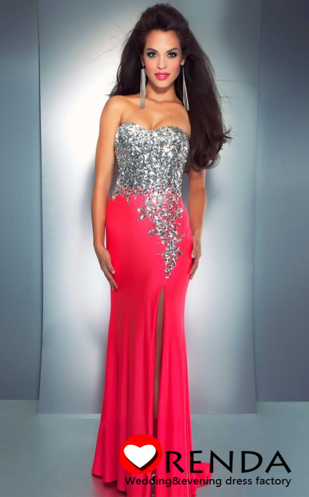 Charmming Hot Selling Sweetheart Hot Pink Sequins Stone Bra Corset Chiffon Long Slit Prom Evening Dresses 2014 New Fashion-in Prom Dresses from Apparel & Accessories on Aliexpress.com