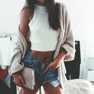 sweater white knit style fashion street streetstyle chic classy denim hair brown fall outfits top knitwear turtleneck crop tops crop cropped sweater tan beige loose shorts denim shorts pockets spring spring outfits