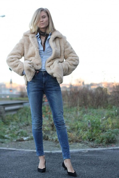 fur blogger the fashion eaters jeans scarf denim