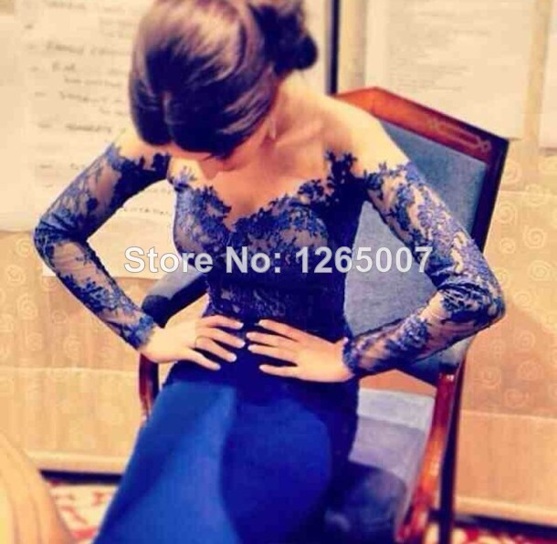 Aliexpress.com : Buy New Arrival V Neck Off The Shoulder Long Sleeves Royal Blue Long Formal Evening Dress Glitter Gowns from Reliable dress soccer suppliers on SFBridal