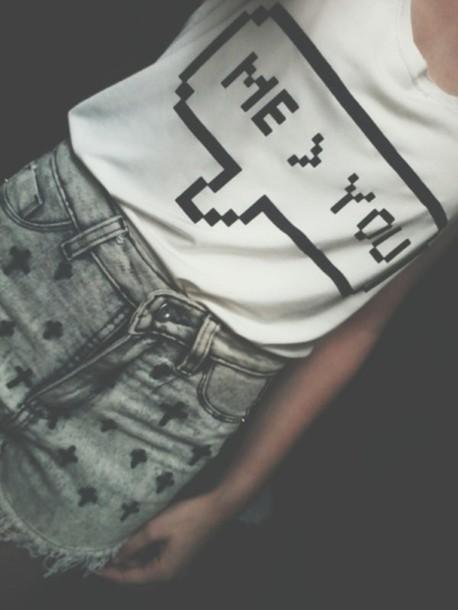 shorts grunge grey cross ripped shorts rock punk dark shirt