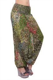 pajamas,peacock feather pants,fancy pants,green pants,harem trouser,leaf print pants,thai pants,alibaba pants,hippie pants,chic pants,jumpsuit,vintage pants,70s style pants,burningman pants