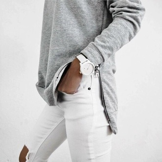 sweater grey grey sweater jeans white white jeans watch minimalist