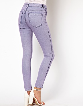 ASOS Petite | ASOS PETITE Exclusive Ridley Supersoft High Waisted Ultra Skinny Jeans In Lilac Acid Wash at ASOS