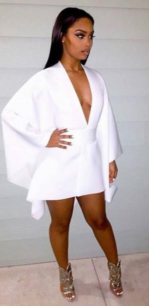 dress white dress v neck v neck dress party dress evening dress cape white sexy mini dress plunge v neck white