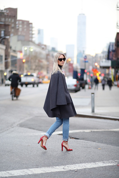 the fashion guitar blogger jeans red heels cape charcoal coat shoes sunglasses