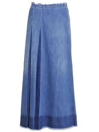skirt maxi skirt denim maxi cotton blue