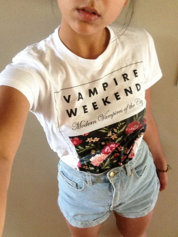 t-shirt white shirt vampire weekend outfit fashion style cute girly top ring shorts ootd vampire