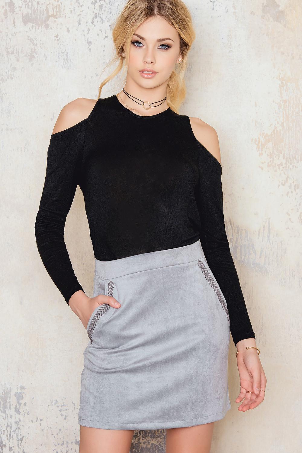 Girls on Film Light Grey Suede Skirt