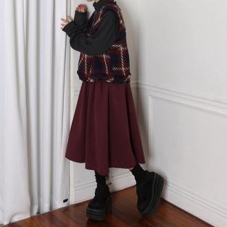 shoes platform shoes black shoes asian fashion skirt sweater