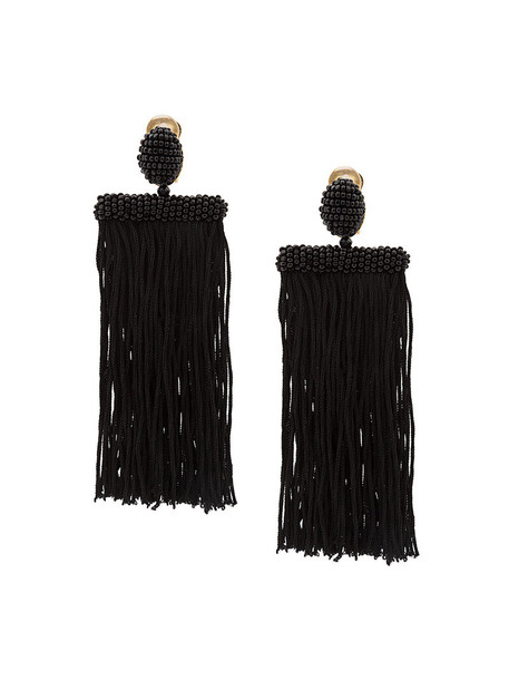 long women beaded earrings black silk jewels
