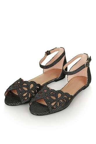 shoes sandals flat sandals cut-out