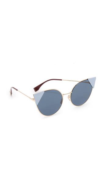 Fendi Arrow Accent Sunglasses - Rose Gold Blue/Blue
