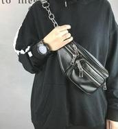 bag,tumblr,black,leather,chain,chain bag,bum bag