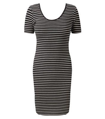 Black stripe print short sleeve mini dress