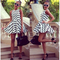 Women's white and black wavy stripes a