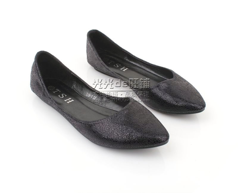 Star fashion women's shoes soft outsole shallow mouth pointed toe flat heel flat shoes black  brand ballet flats for women-inFlats from Shoes on Aliexpress.com