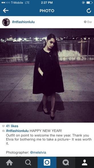 coat shoes classic hairstyles make-up black dress black coat black heels heels winter coat edgy