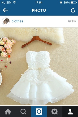 dress white short white lace embroidered fashion style prom