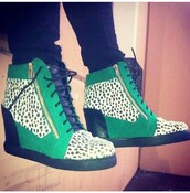 shoes,green shoes,shoes with zippers,wedges,platform shoes,animal print,wedge sneakers,green sneakers