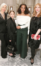 pants,wide-leg pants,solange knowles,ashley olsen,christina hendricks,off the shoulder,top,blouse,sweater