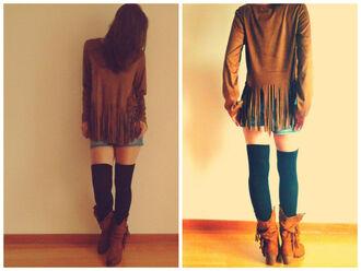 fringes tassel sweater kimono cardigan top tank top automn vintage winter sweater cowboy coat jacket socks knee high socks