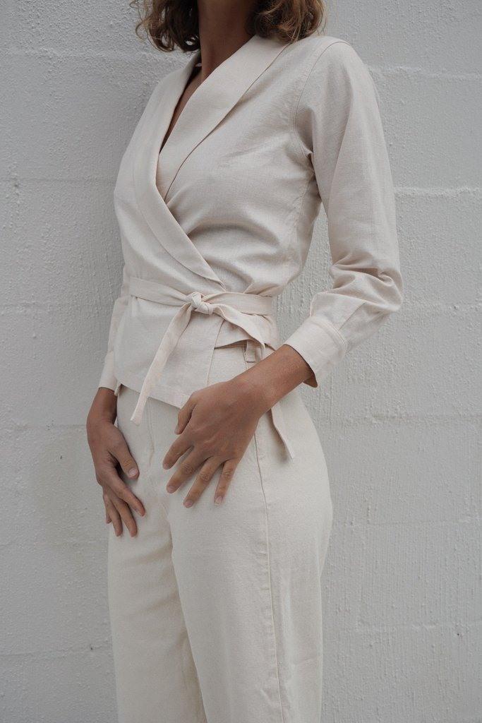 Fedora Wrap Top - Vintage White