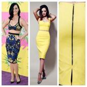 skirt,two-piece,bright,tropical,yellow,katy perry