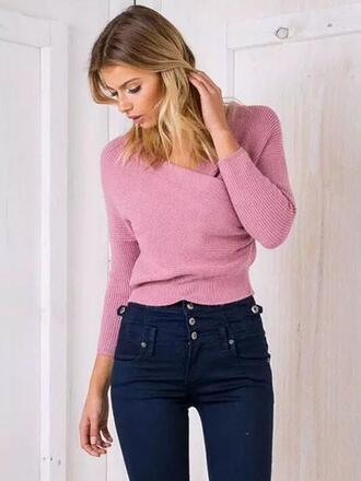 top mynystyle pink trendy knuckle ring knitwear style casual chic high waisted jeans