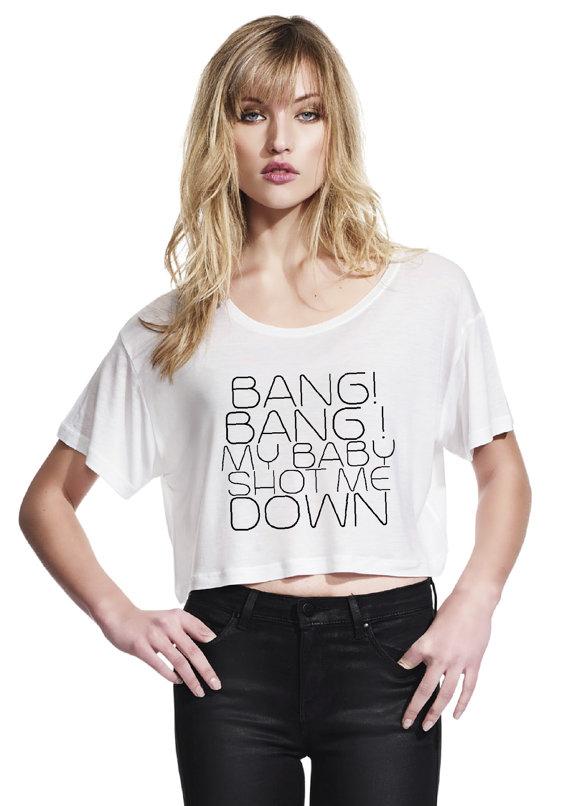 Bang bang  womens oversized crop top  black or by blushandwhistle