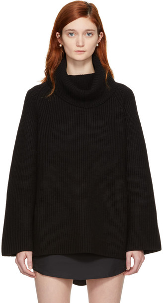 turtleneck oversized long black sweater