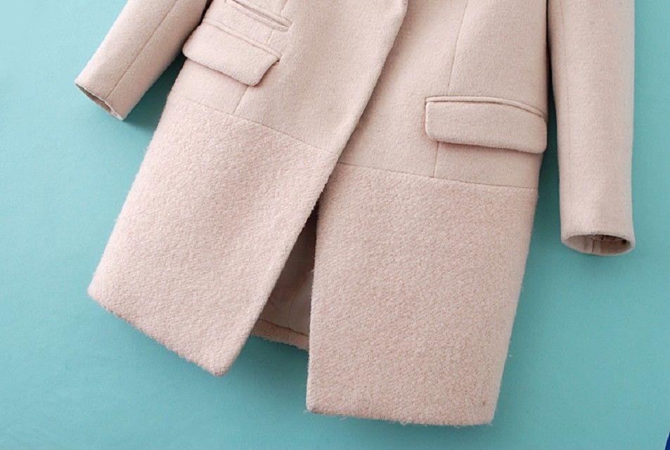 Abrigo solapa con muesca manga larga-Beige