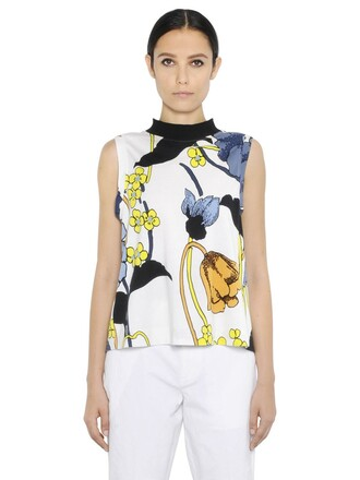 t-shirt shirt sleeveless floral cotton top