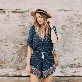 romper hat tumblr blue romper sun hat bag round bag summer outfits