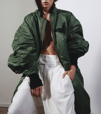 jacket khaki bomber jacket long woman girl menswear army army green army green jacket coat jeans