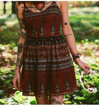 dress boho dress bohemian style red dress bordeaux red