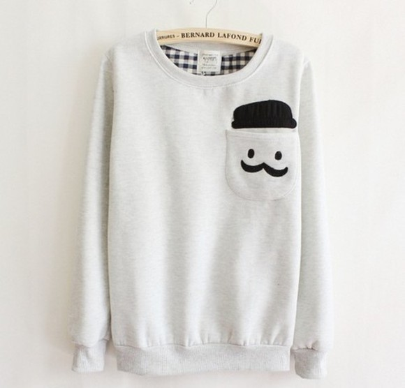 sweater mustache swag cute moustache pocket jumper sweater black white bernard lafond cute sweaters