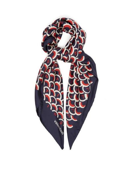 Valentino - Logo Print Silk Twill Scarf - Womens - Blue