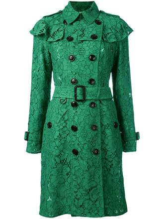 coat trench coat ruffle women cotton silk green