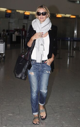 jeans ripped jeans bag scarf jacket shoes sandals shirt sunglasses heidi klum cuffed jeans