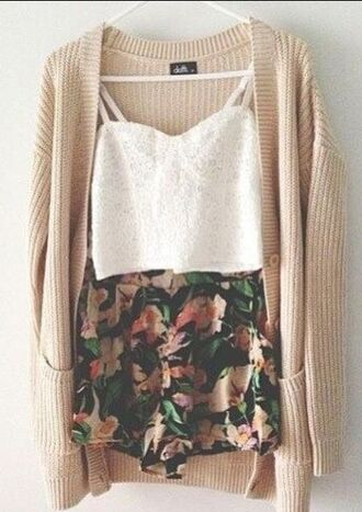 cardigan shorts tank top crop tops white cardigan skirt floral skirt knitwear white shirt lace bustier
