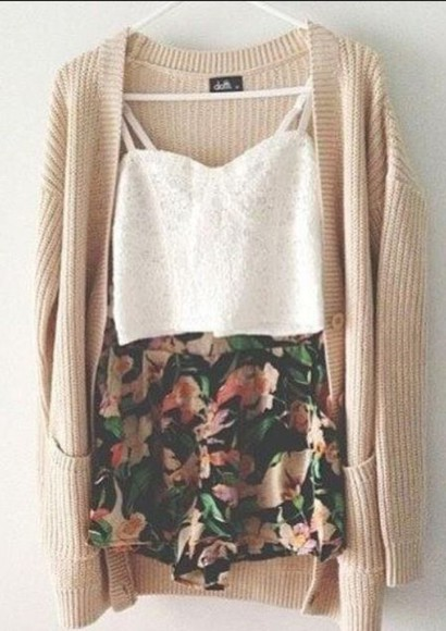 tank top skirt cardigan white cardigan knit cardigan floral skirt white shirt lace bustier shorts crop tops