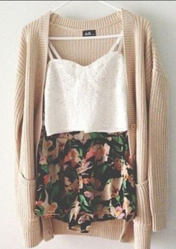 shorts crop tops cardigan tank top knitwear floral skirt skirt white shirt lace bustier white cardigan