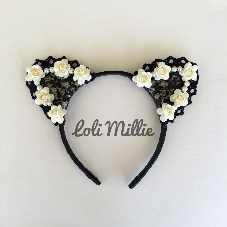 Kawaii floral ears nekomimi sweet lolita gyaru rave