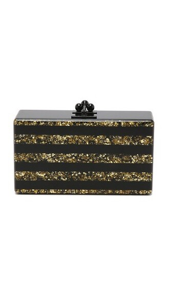 clutch gold black bag