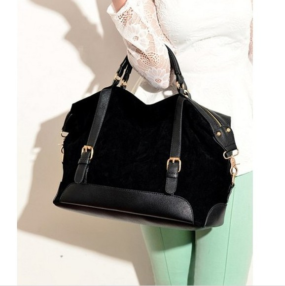 black handbag bag suede leatherette gold tote