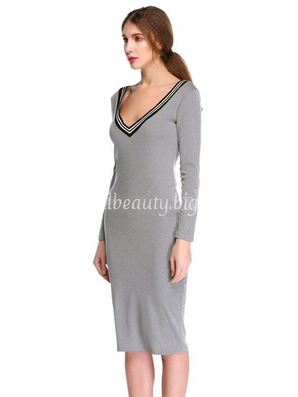Lethalbeauty ? v neck midi black striped neckline dress
